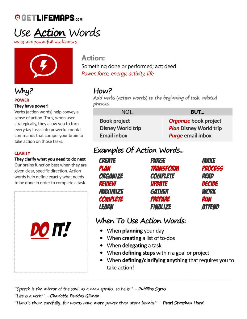 action words list