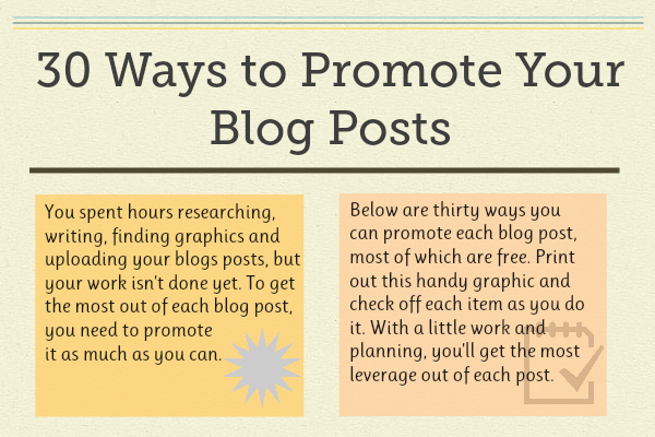 30 Best Ways to Promote Your Blog Posts