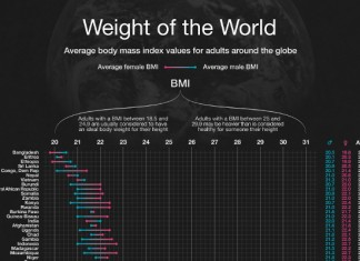 List of Average Human Weight By Country and American States