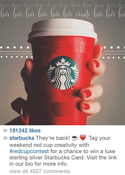 Starbucks Using Branded Hashtags on Instagram