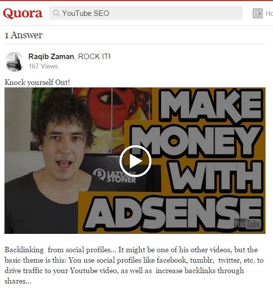 YouTube SEO Quora Example