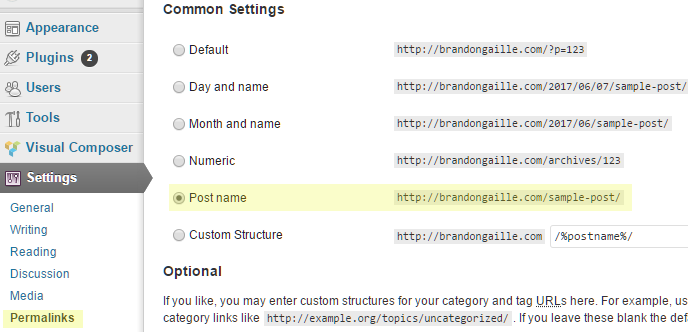 wordpress-permalink-settings